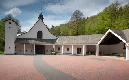 Photo for Panoramic image of the pilgrimage church of monastery Maria Martental close to Cochem on a sunny day, Germany - Royalty Free Image