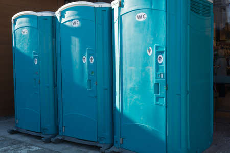 mobile toilets for at a construction site