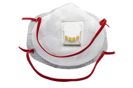 Photo pour View of Disposable Respirator Mask FFP3, FFP2. Protection against Covid-19, particles, gases. Fine dust medical mask FFP 3 with breathing valve - image libre de droit