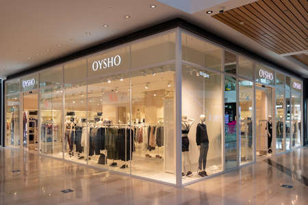 Seville, Spain - September 18, 2020: Oysho Store in Lagoh Sevilla shopping mall, Seville. It's Spanish clothing retailer specialized in women's underwear, casual clothing, comfortable and accessories.
