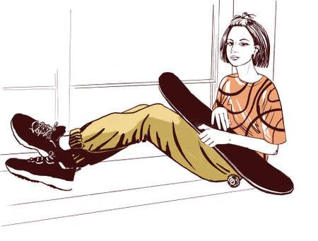 Photo pour teenage girl with a skate or long board - image libre de droit