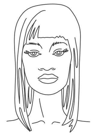 Illustration pour Line drawing face aesthetic contour. Abstract woman portrait - image libre de droit
