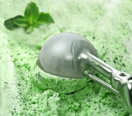 Ice Cream scoop with mint