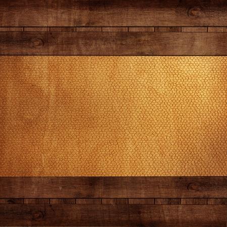 Photo pour wooden background with yellow leather - image libre de droit