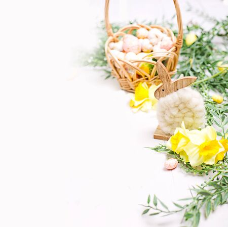 Photo for Easter background with eggs and flowers. Template for text - Royalty Free Image