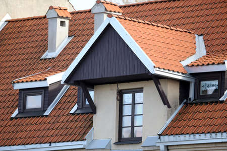 Photo for New red roof tile background. Architecture Lithuania - Royalty Free Image