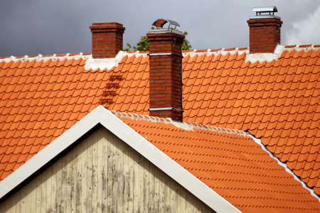 Photo for Red tiled roofs of Kuldiga old town buildings. Latvia - Royalty Free Image