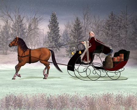 Illustration of a traditional Father Christmas in a horse drawn sleigh, 3d digitally rendered illustration