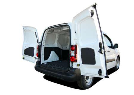 Photo pour small van with rear doors opened - image libre de droit