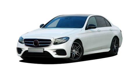 Photo pour White car on white background, front view - image libre de droit