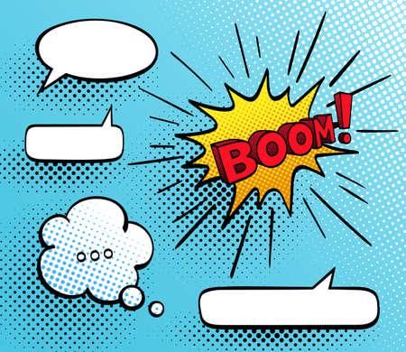 Set of speech comic bubbles. Comic sound effect. Vector illustration.