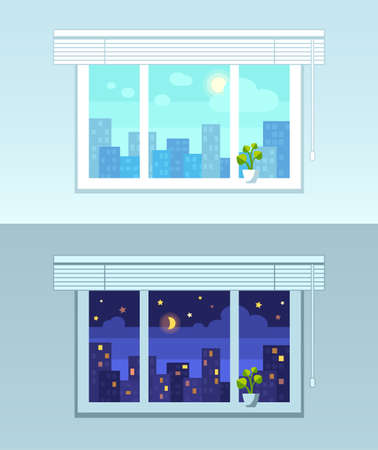 Illustration pour Window, city view.  Night and day versions. Flat style vector illustration. - image libre de droit