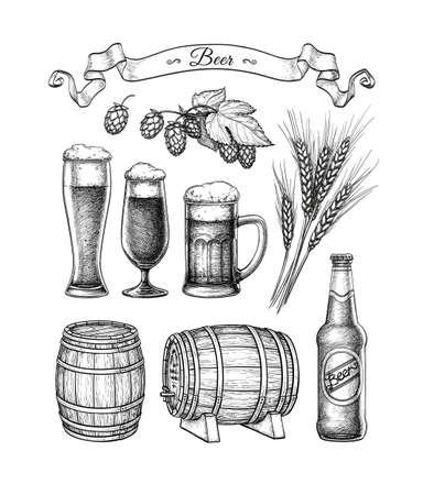 Illustration pour Big beer set. - image libre de droit