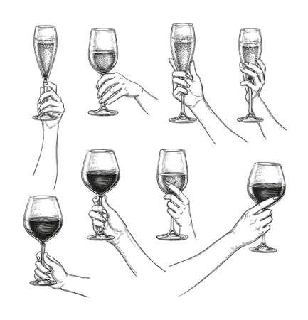 Illustration pour Set of hands with wine glasses - image libre de droit