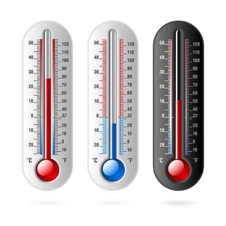 Thermometers. Celsius and Fahrenheit.