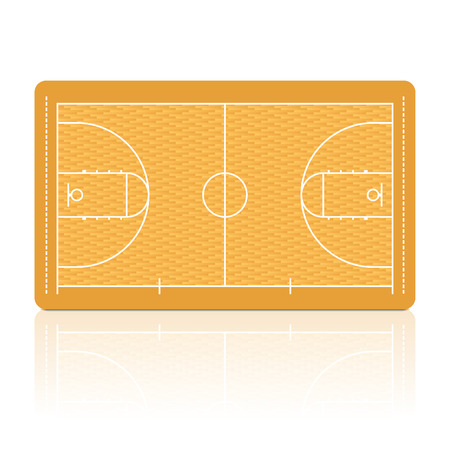 Basketball court with detailed parquet floor portrayal.
