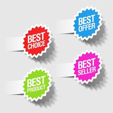 Illustration pour Best choice, best offer, best product and best seller tags - image libre de droit