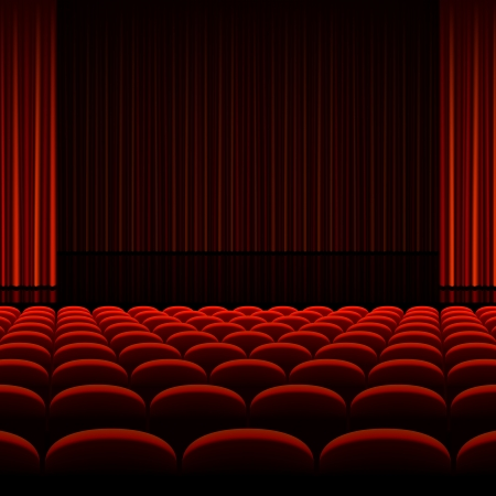 Illustration pour Theater interior with red curtains and seats - image libre de droit
