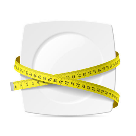 Plate with measuring tape - diet theme