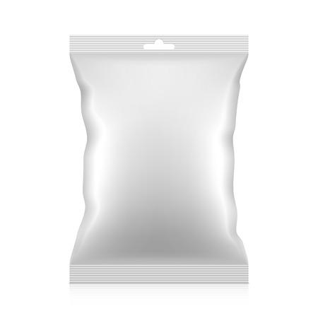 Blank snacks food foil packaging bag with hang tab