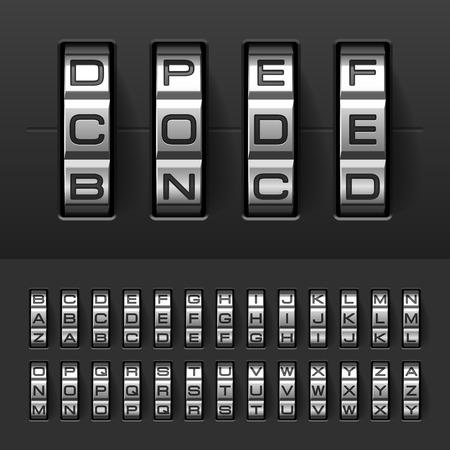Combination, code lock alphabet