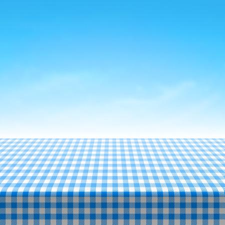 Ilustración de Empty picnic table covered with blue checkered tablecloth - Imagen libre de derechos