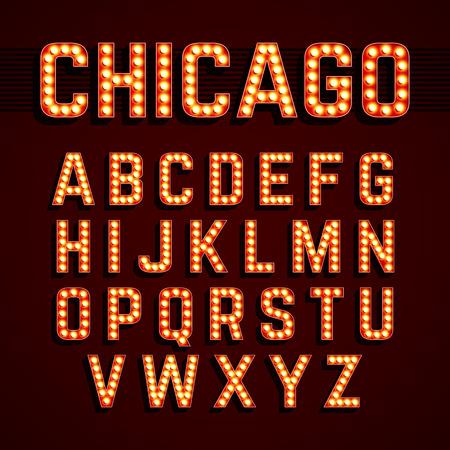 Illustration pour Broadway lights style light bulb alphabet - image libre de droit