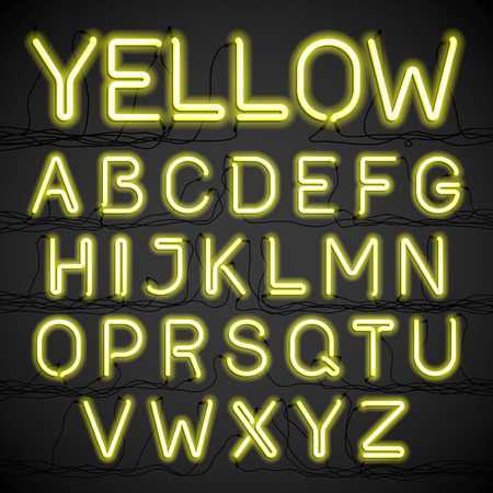 Yellow neon glow alphabet with wires
