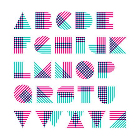 Ilustración de Striped alphabet made of crossed lines - Imagen libre de derechos
