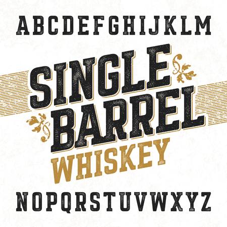 Illustration pour Single barrel whiskey label font with sample design. Ideal for any design in vintage style. - image libre de droit