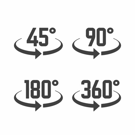 45, 180, 270 and 360 degrees view sign icons