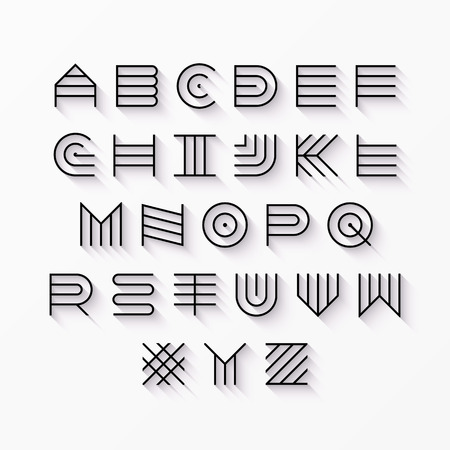 Thin line style, linear uppercase modern font, typeface, latin alphabet with shadow effect design element