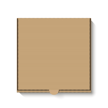 Brown cardboard pizza box, top view