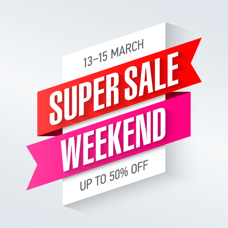 Ilustración de Super Sale Weekend special offer poster, banner background, big sale, clearance. - Imagen libre de derechos