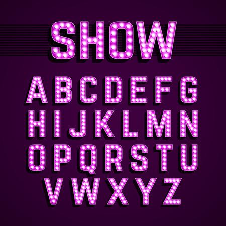 Illustration pour Broadway lights style light bulb alphabet, night show - image libre de droit