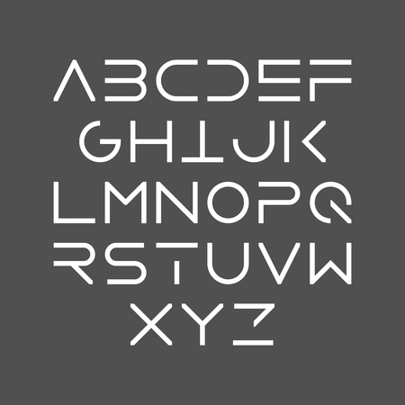 Thin line bold style uppercase modern font, typeface, minimalist style. Latin alphabet letters.