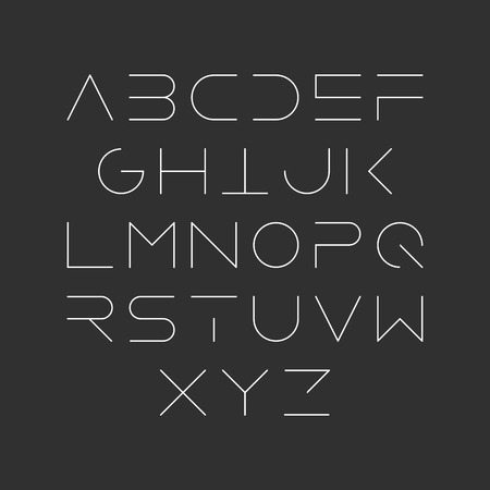 Illustration pour Extra thin line style, linear uppercase modern font, typeface, minimalist style. Latin alphabet letters. - image libre de droit