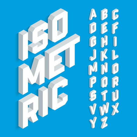 White isometric 3d font, three-dimensional alphabet letters.