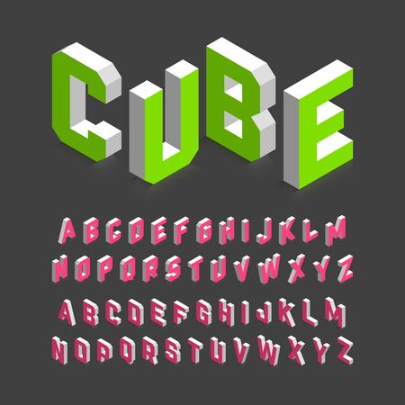 Illustration pour Isometric 3d font, three-dimensional alphabet letters. - image libre de droit