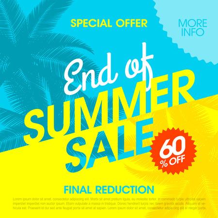 Ilustración de End Of Summer Sale banner design template - Imagen libre de derechos