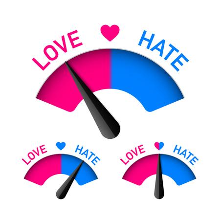 Illustration pour Love and Hate meter, Valentines Day design element - image libre de droit