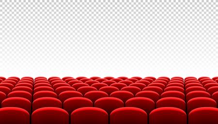 Illustration pour Rows of red cinema movie theater seats on transparent background - image libre de droit