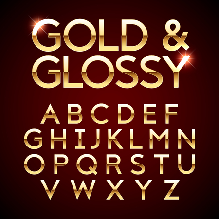 Gold and Glossy shining font, golden alphabet letters