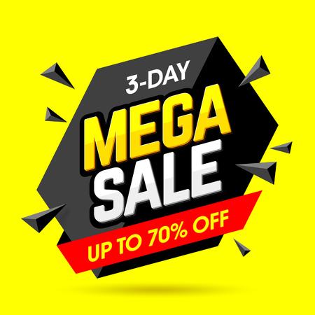 Illustration pour Mega Sale banner design template, 3 day special weekend offer, up to 70% off - image libre de droit