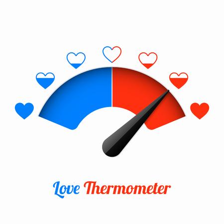 Illustration pour Love thermometer, Valentines Day card design element. - image libre de droit