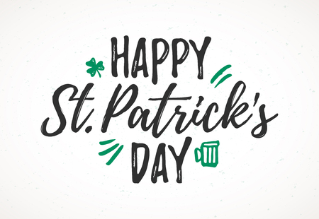 Illustration pour Happy St. Patrick's Day greeting card, 17 March Feast of St. Patrick, handdrawn dry brush style lettering - image libre de droit