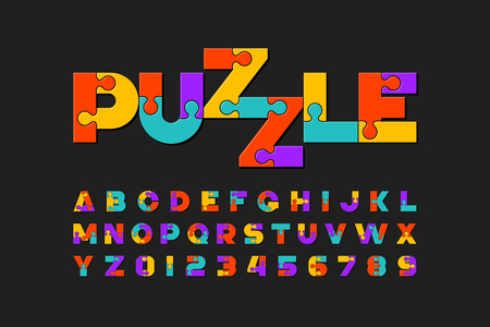 Illustration for Puzzle font, colorful jigsaw puzzle alphabet letters and numbers - Royalty Free Image
