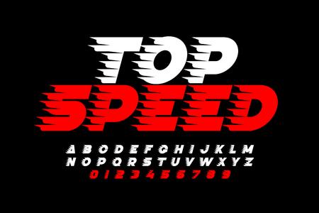 Ilustración de Top Speed style font, alphabet and numbers - Imagen libre de derechos