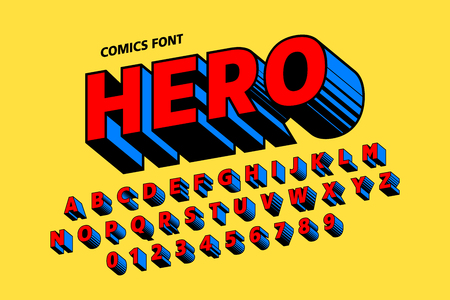 Illustration pour Comics style font design, alphabet letters and numbers - image libre de droit