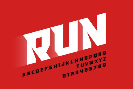 Ilustración de Sport style modern font, alphabet letters and numbers - Imagen libre de derechos